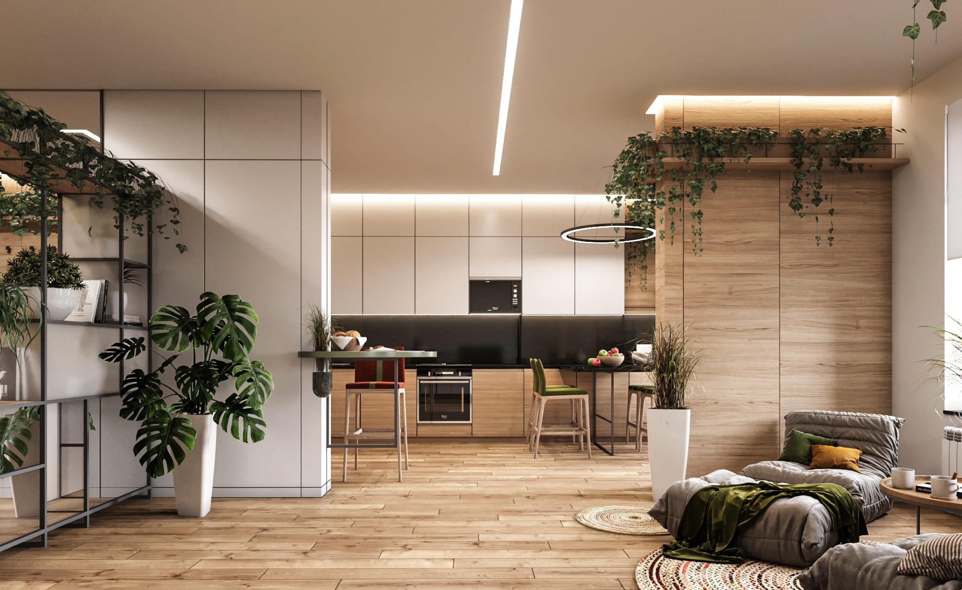 сучасний дизайн інтер'єру квартири в ЖК Меридіан