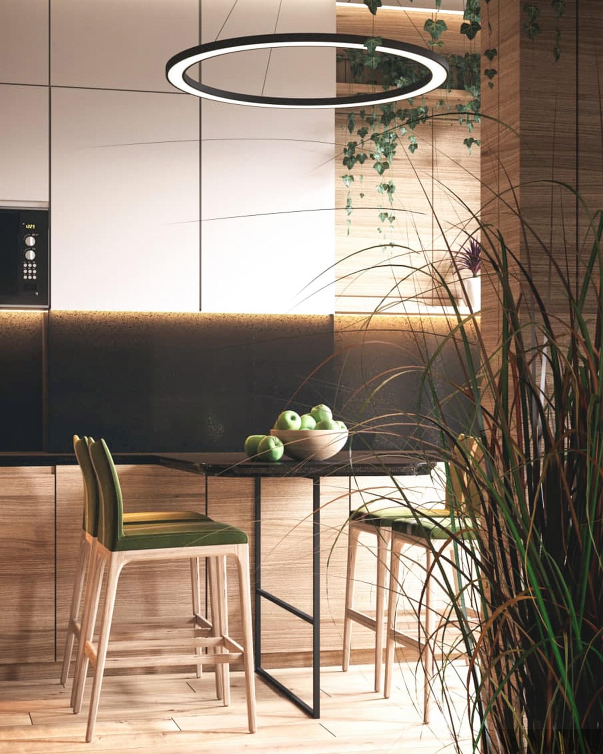 сучасний дизайн інтер'єру кухні в ЖК Меридіан