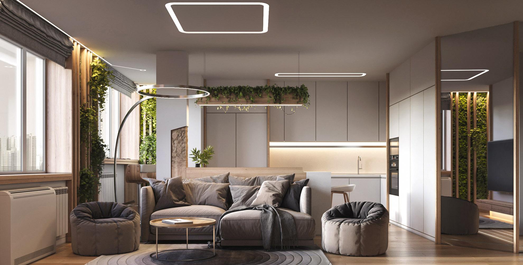 сучасний дизайн інтер'єру квартири в ЖК Журавлі